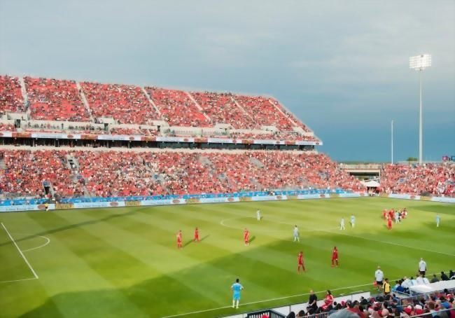 A soccer game in progress at the BMO Field.