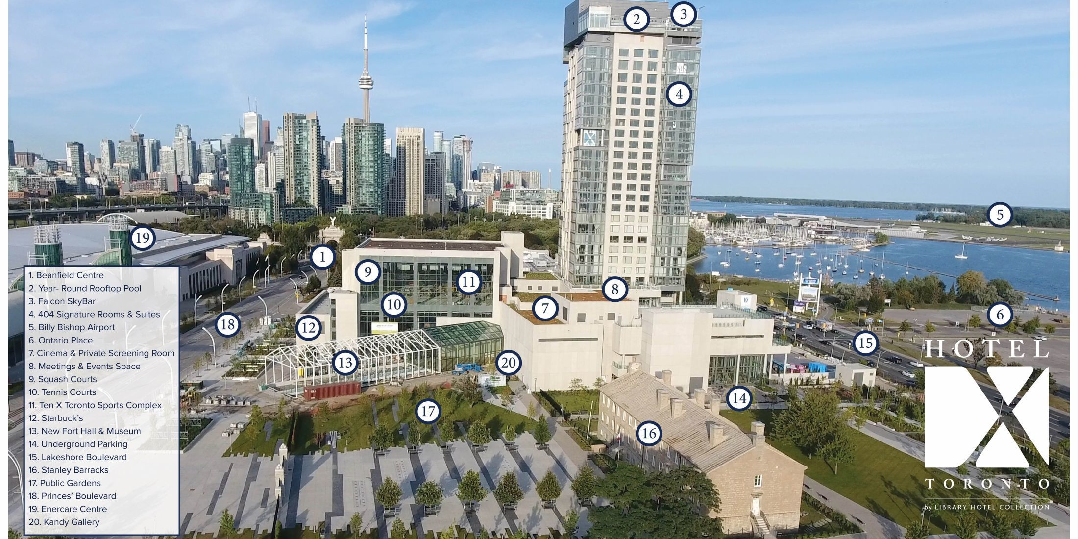 Hotel X Toronto Perimeter Map. Located on Exhibition Place.